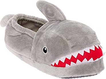 Silver Lilly Shark Plush Slippers