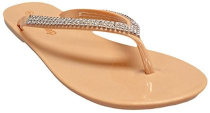 Women's Jelly Sandal Flip Flop with Glitter Strap