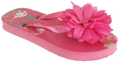 Girls Floral Hawaiian Flip-Flops with 3D Flower