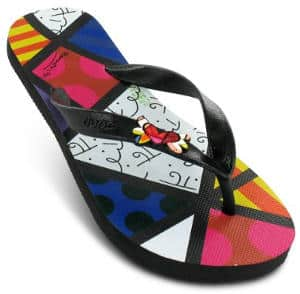 Romero Britto Flip Flops by Dupe - Heart Design