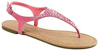 Women's T Strap Thong Gladiator Glitter Sandals by Bella Marie