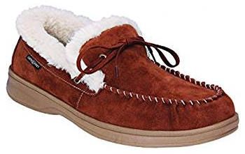 Orthafeet Men's Brown Leather Wide Moccasins