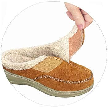 Orthofeet leather womens slippers
