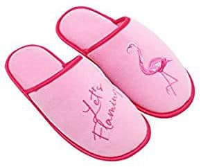 Pink flamingo embroidered slipper