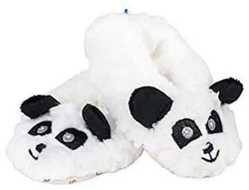 Snoozies Baby Plush Sherpa Black White Panda Booties