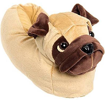 Silver Lilly Plush Pug Dog Slippers