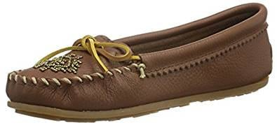 Minnetonka Women's Deerskin Beaded Moccasin Loafers Shoes
