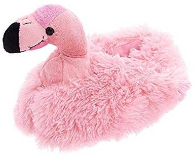 Flamingo Animal Plush Fuzzy Slippers for Adults and Children by Wishpets