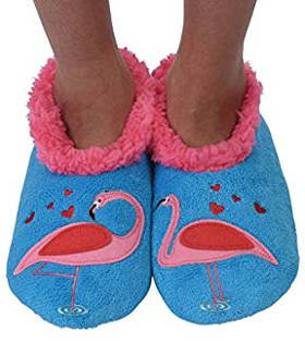 Snoozies Womens Classic Splitz Applique Flamingo Slipper Socks