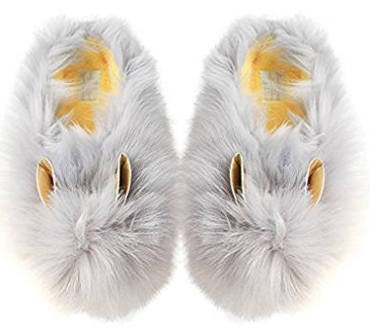 Gray bunny rabbit slippers
