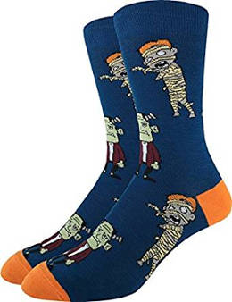 Frankestein and Mummy Halloween Crew Socks