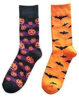 Pumpkin and bat Halloween socks