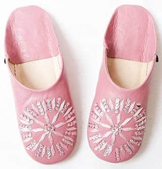 Dear Morocco Babouche Spangle Sheepskin Slippers
