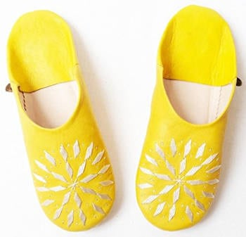 Dear Morocco Babouche Embroidery Sheepskin Slippers