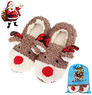 Red nosed reindeer slippers