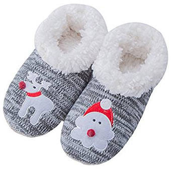 Reindeer Santa House Slipper Socks for Women