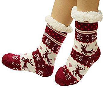 Women's Fuzzy Fleece Slipper Socks For Christmas Gift