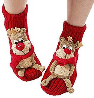 3D Reindeer Cartoon Non-Skid House Slipper Socks for Women