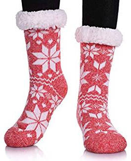 Dosoni Women's Winter Snowflake Knit Christmas Slipper Socks