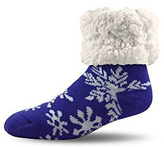 Adult Snowflake Winter Classic Slipper Socks With Grippers