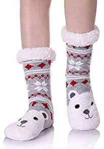 Women's Cartoon Animal Face Snowflake Home Slipper Socks