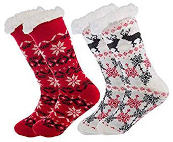 2-pack of snowflake slipper socks