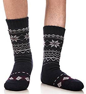 Men's Winter Thermal Fleece Lining Knit Slipper Socks
