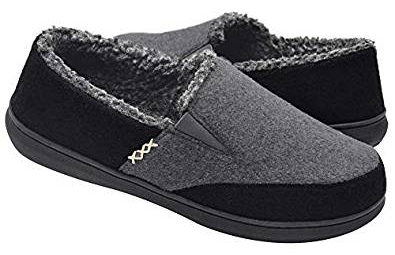 Zigzagger Men's Wool Micro Suede Moccasin Slippers