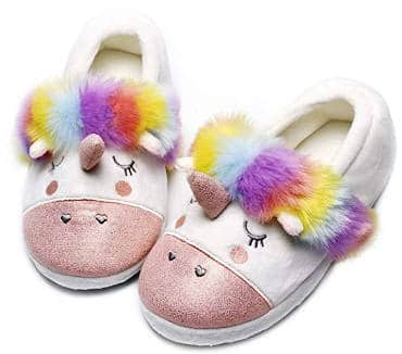 Sparkly Unicorn Slippers With Multicolor Faux Fur