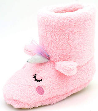 Pink unicorn slippers for toddler girls