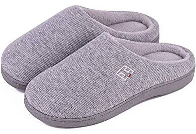 Men's and women's plush memory foam slippers