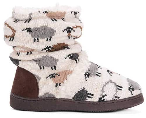MUK LUKS Women's Bootie Slippers With Sheep On Them
