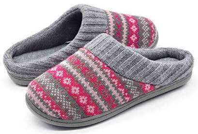 Sweater knit memory foam slippers with arch support