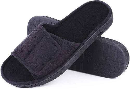 Adjustable summer slippers with velcro strap